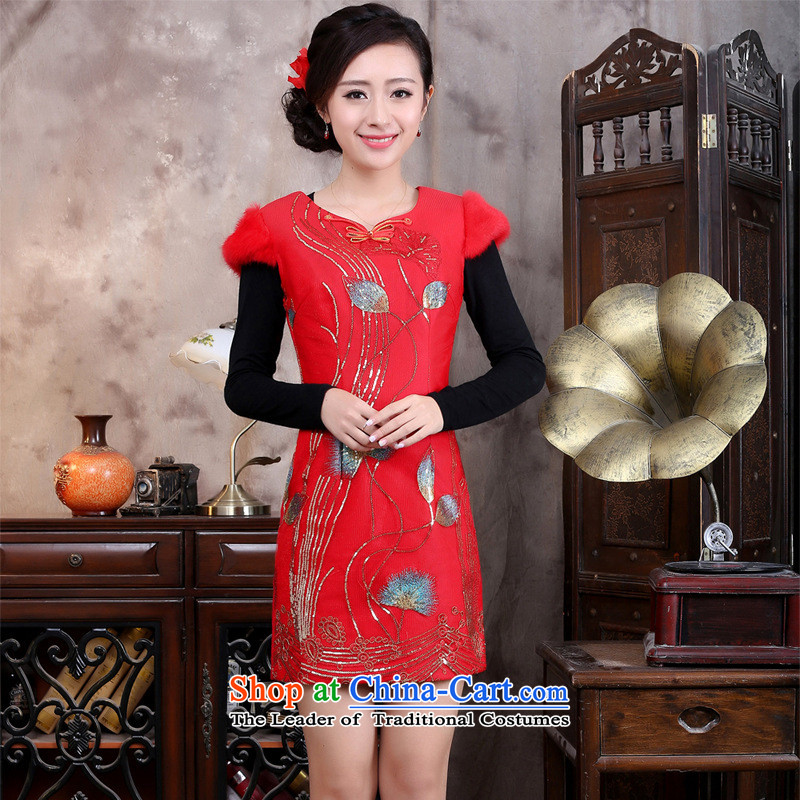 New product lines for autumn and winter day-to-day Chinese cheongsam dress embroidery antique dresses Tang Gown cheongsam red燬