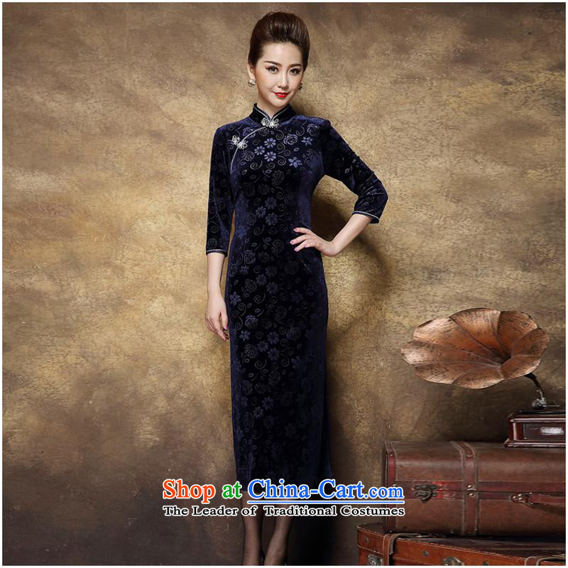 Mother banquet dress qipao autumn and winter new wool-long auspicious badges of Qipao Navy�L