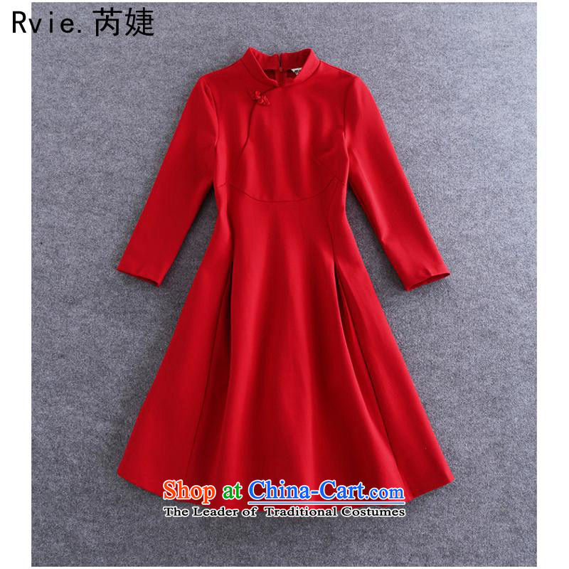 2015 Autumn and winter new women's minimalist stitching a grain allotted seven points/pure color temperament retro cheongsam dress RED M