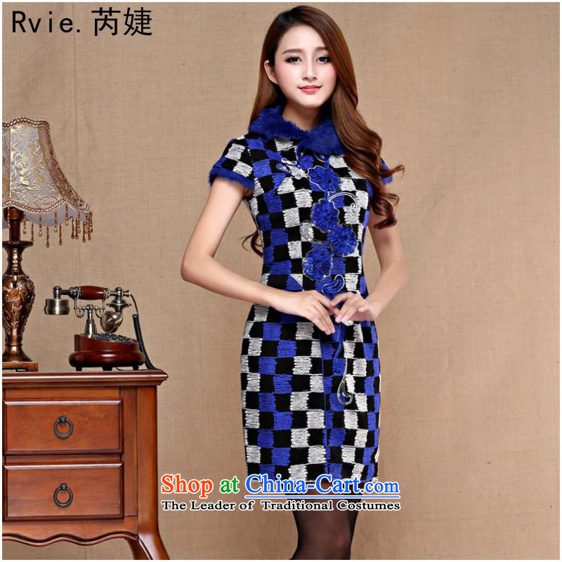 The autumn and winter new improved Couture fashion Chinese Dress Tang dynasty dresses qipao black?XXL