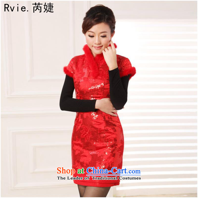2015 Autumn and winter new improved cheongsam silk embroidery short of the Republic of Korea Air-Sau San qipao skirt red 2 L