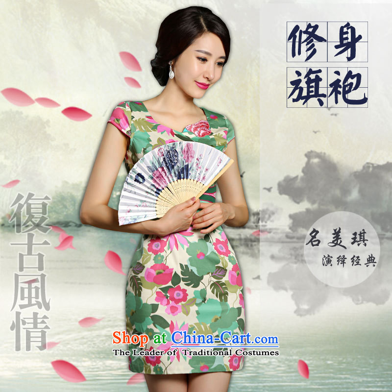 The new minimalist lady stylish improved qipao Sau San stamp summer short-sleeved dresses female picture color燤