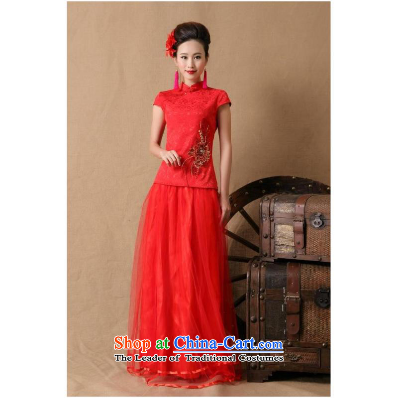 The new 2015 Red stylish marriages ceremony cheongsam dress red燲L