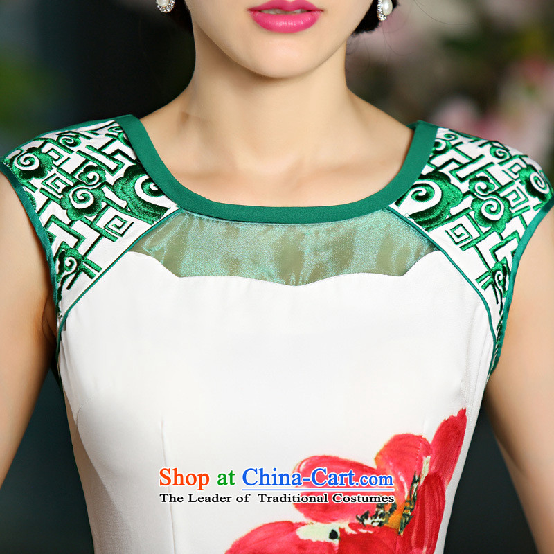 2015 New Digital Stamp embroidery temperament Sau San improved cheongsam dress green燬