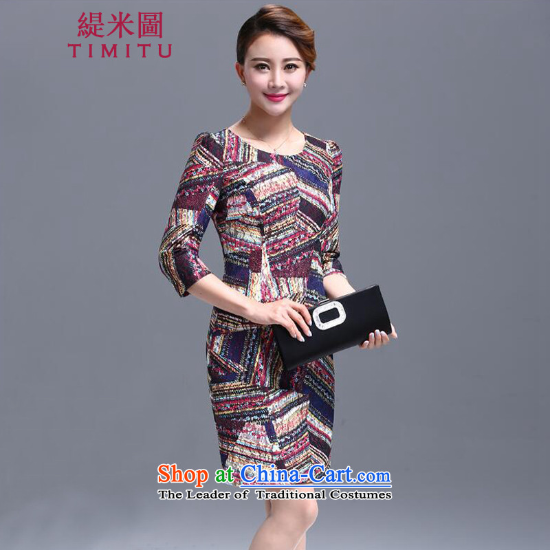 Economy Figure Boxed New 2015 autumn large middle-aged female MOM pack lace dresses and more female qipao package graphics thin suit?2XL