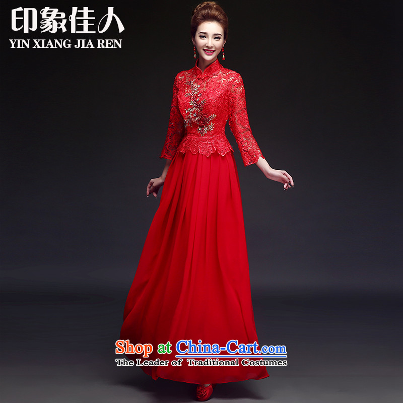 Starring impression wedding dresses 2015 new cheongsam long-sleeved lace marriages bows to red long skirt燬