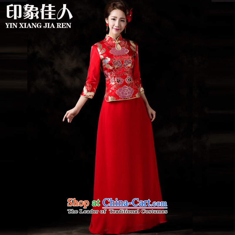 Starring impression of the new long-sleeved brides 2015 qipao bows services fall improved retro Chinese wedding dress longfeng use su Wo Service L