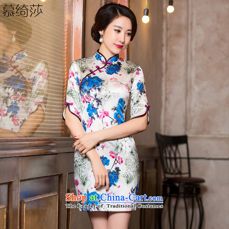 The cross-SHA MENG heavyweight silk cheongsam dress fall inside the new improved cheongsam dress in Silk Cheongsam Stylish retro Ms. cuff?HY6086?picture color?S