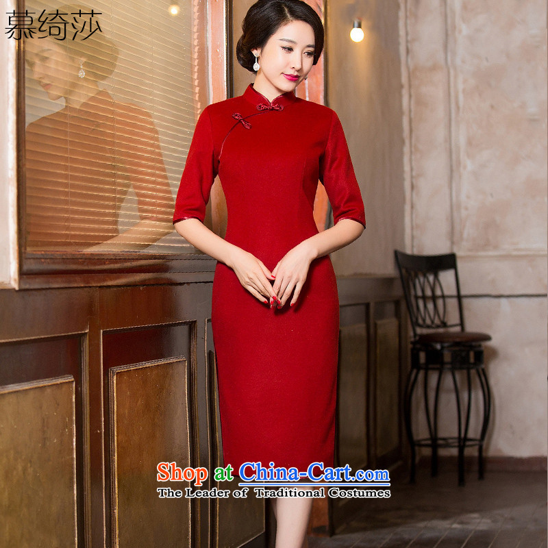 The cross-sa feast Lau�15 retro cashmere cheongsam dress new retro improved cheongsam dress in the autumn of stylish qipao燞Y6089 long燿ark red�L