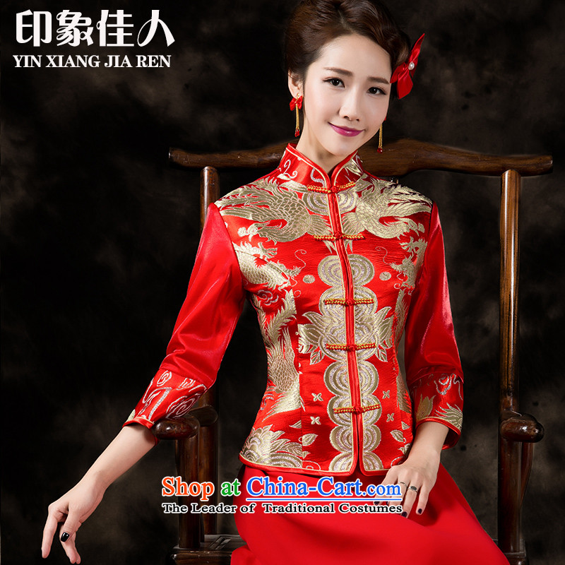 Starring impression of the?new Marriage toasting champagne 2015 Service Bridal lace qipao in long-sleeved wedding dresses female Chinese improved long-serving wo gold embroidery? S