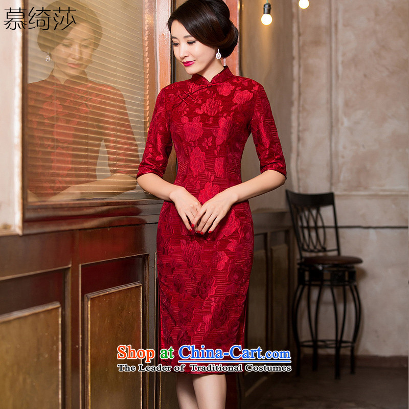 The cheer her jade?2015 jacquard retro qipao autumn in long qipao skirt the new wedding dresses in Chinese elderly mother replacing HY6096 dark red?L