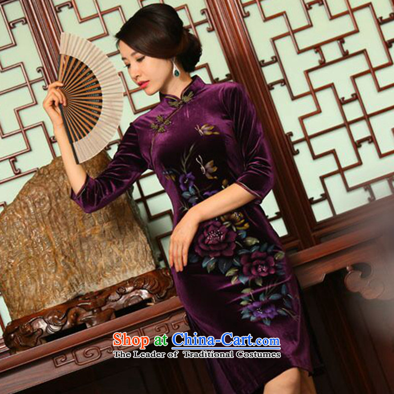 It new plush qipao autumn in long skirt 7 cuff improved hand-painted retro Sau San larger cheongsam dress purple?M