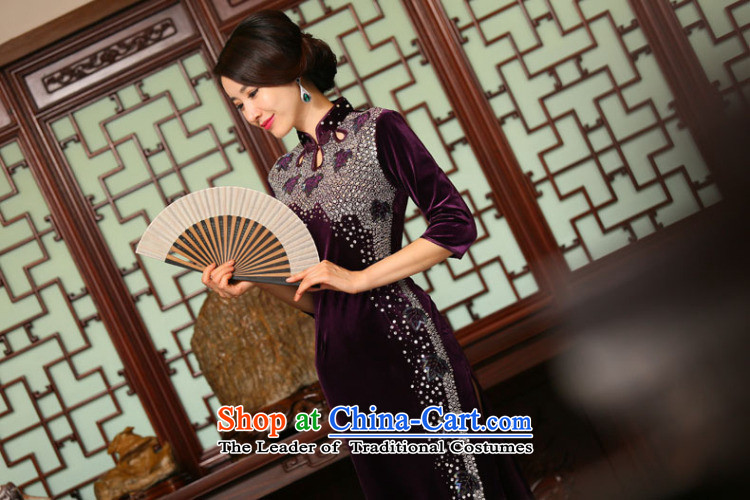 Dan Chu load new smoke female retro improved Chinese qipao 7 cuff velvet manually staple-ju long cheongsam dress figure color聽L picture, prices, brand platters! The elections are supplied in the national character of distribution, so action, buy now enjoy more preferential! As soon as possible.