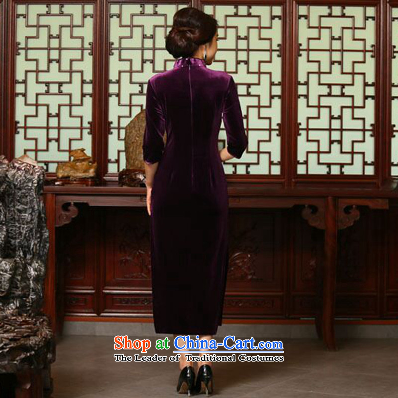 Dan Chu load new smoke female retro improved Chinese qipao 7 cuff velvet manually staple-ju long cheongsam dress figure color聽L, Dan Smoke , , , shopping on the Internet