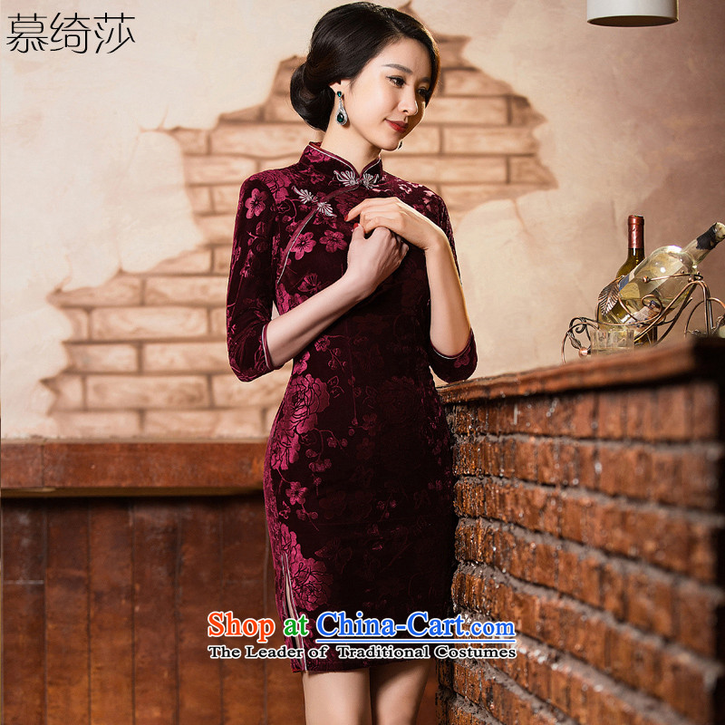 The cross-sa?2015 Autumn qipao erotic scouring pads fitted Stretch Dress qipao new 7 to the elderly in the Cuff cheongsam MOM pack dresses?QD301?Magenta?XL