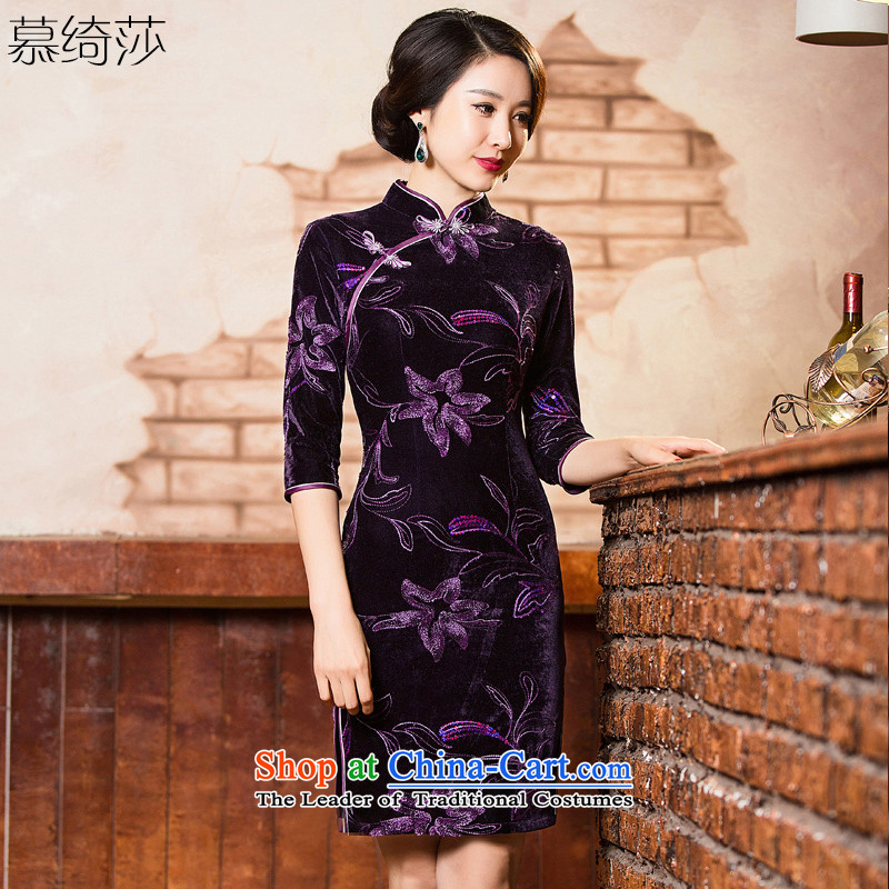 The cross-sa?2015 retro-cashmere qipao graceful skirt the new improved cheongsam dress Chinese qipao gown MOM pack installed?QD303- autumn?purple?M