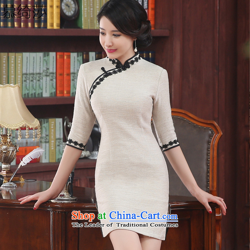 The cross-SA-su�15 Antique Lace stitching qipao autumn replacing improved cheongsam dress 7 cuff stylish new燴A3M12 cheongsam dress爉a color燣