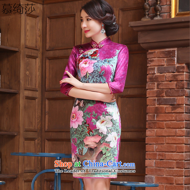 The cross-sa Yui Arabic scouring pads installed in the autumn of qipao retro long cheongsam dress new Ms. improved cheongsam dress 7 cuff ethnic燴A3R10燽etter red燲L