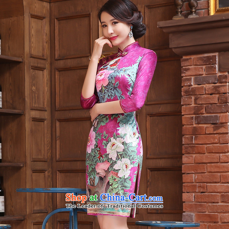 The cross-sa Yui Arabic scouring pads installed in the autumn of qipao retro long cheongsam dress new Ms. improved cheongsam dress 7 cuff ethnic ZA3R10 better the cross-sha red XL, , , , shopping on the Internet