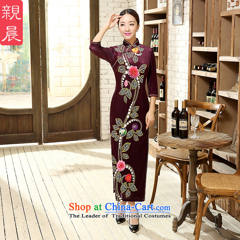 2015 New Stretch Wool qipao Kim Fall_Winter Collections of nostalgia for the improvement of Sau San stylish long skirt female-to-day long?3XL