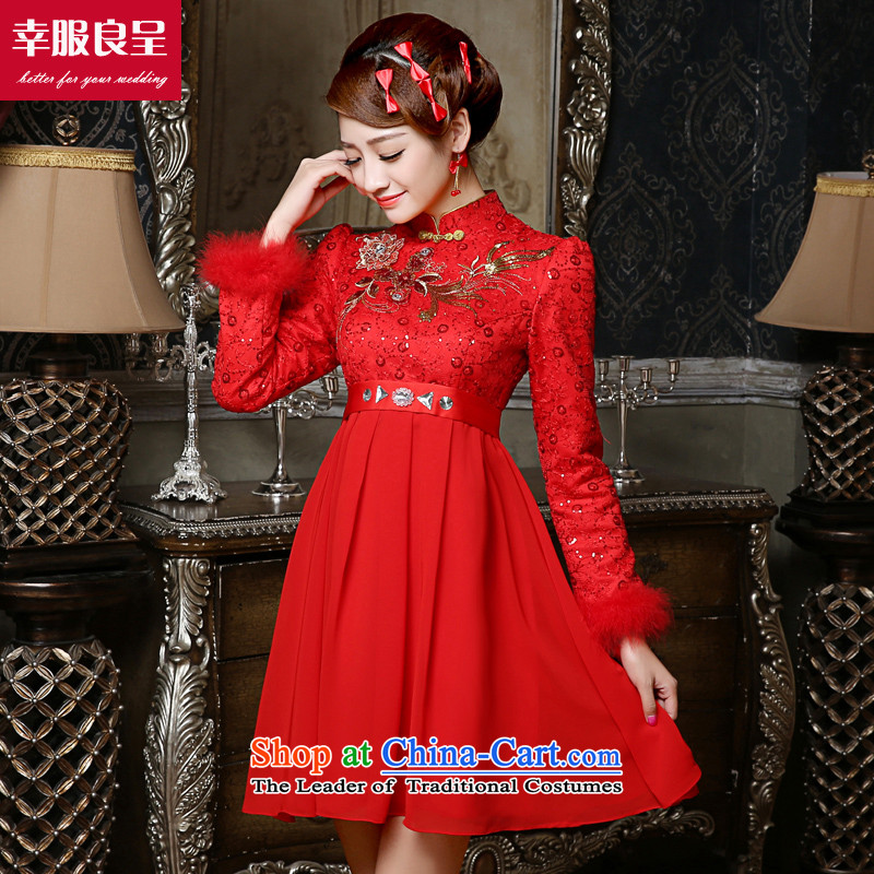 The privilege of serving-leung bows to bride Chinese wedding dresses qipao Red 5mm high fat waist back door to the winter pregnant women, short skirts燣