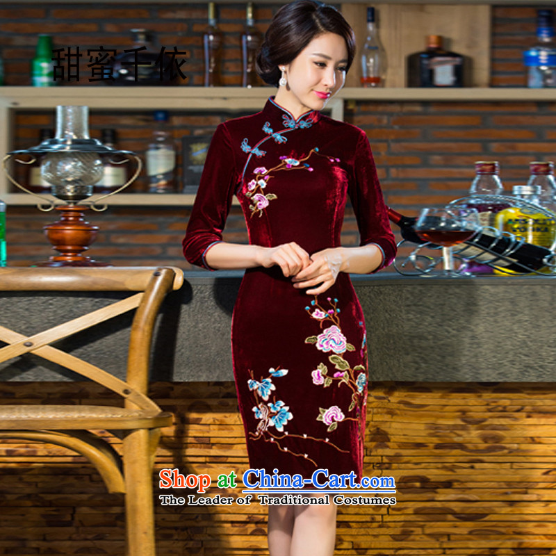 In accordance with the 2015 thousands of sweet autumn and winter new moms with scouring pads in the skirt qipao Kim sleeve length_ Improved retro wedding wine red燲XL