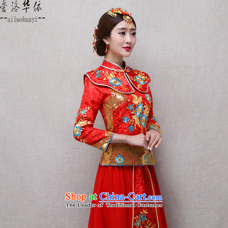 Sau Wo Service 2015 winter new bride red retro improved qipao Chinese evening drink service bridal dresses Sau San Feng use marriages evening wedding gown red Soo kimono + Head Ornaments聽M