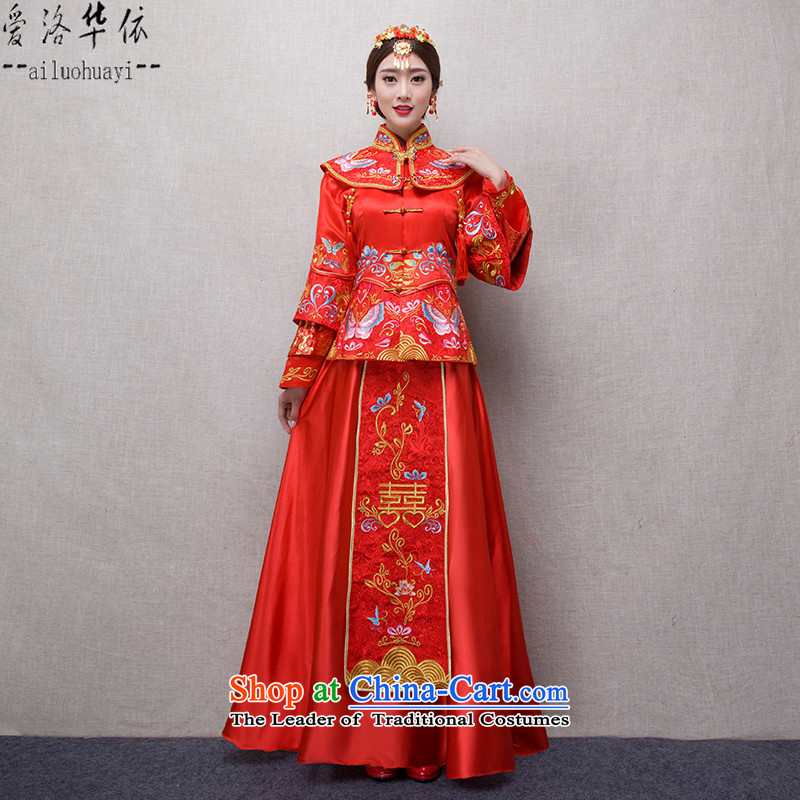 Sau Wo Service 2015 new marriages bows services improved Chinese qipao retro long red dragon use brides embroidered evening marriages wedding dress China Red Soo kimono聽XL