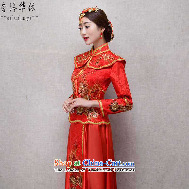 Sau Wo Service 2015 new autumn and winter clothing red retro marriage bows Chinese qipao and Phoenix also improved long-sleeved Sau San video thin cheongsam marriages wedding gown evening red-soo kimono + Head Ornaments?M
