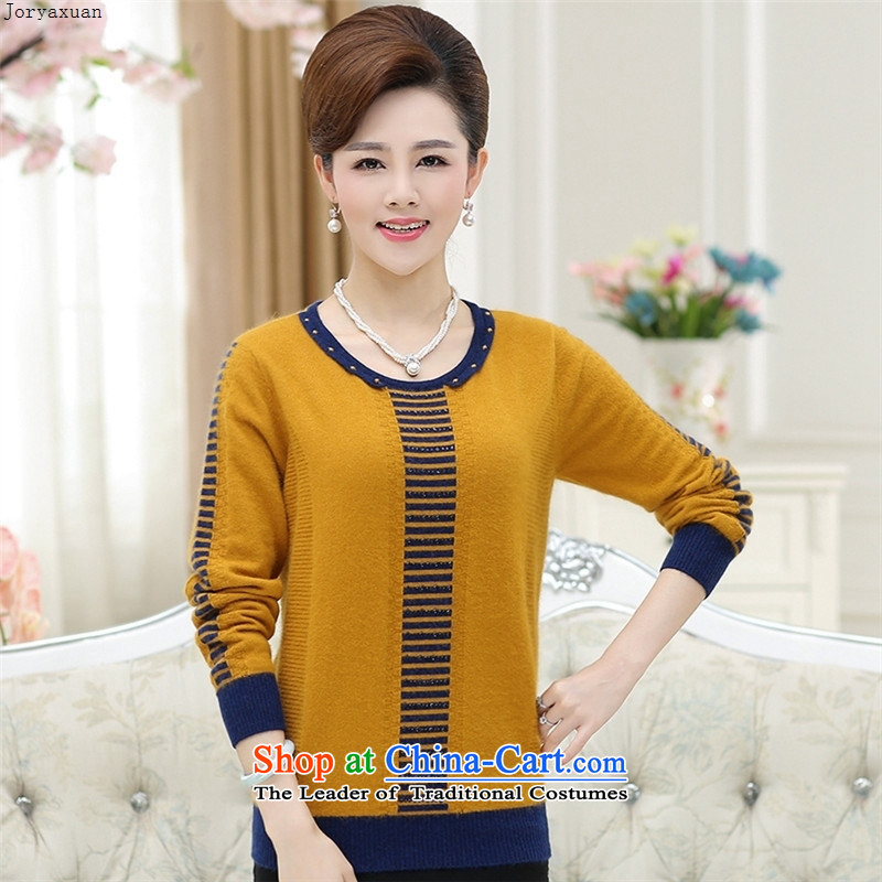 Web soft trappings of older women wear loose large long-sleeved middle-aged women Knitted Shirt with load autumn tiao mother fleece clothing knitwear RED?M