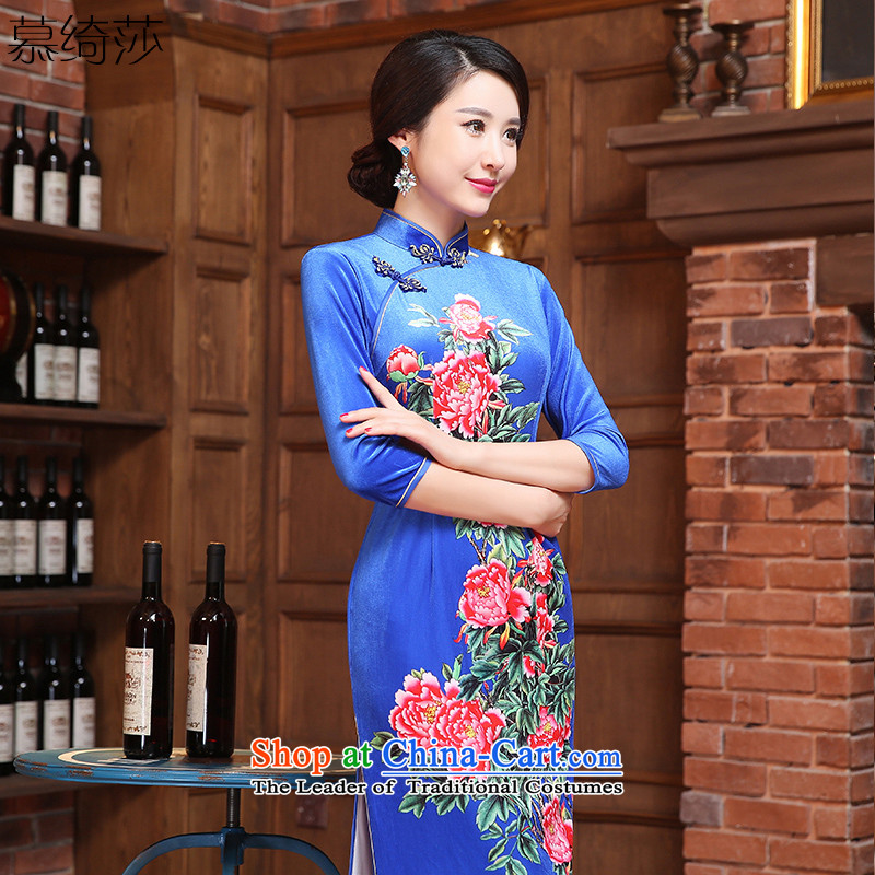 The cheer her twin spent聽2015 retro fitted autumn qipao scouring pads improved cheongsam dress 7 cuff new long skirt qipao qipao聽ZA3R13聽BLUE聽L