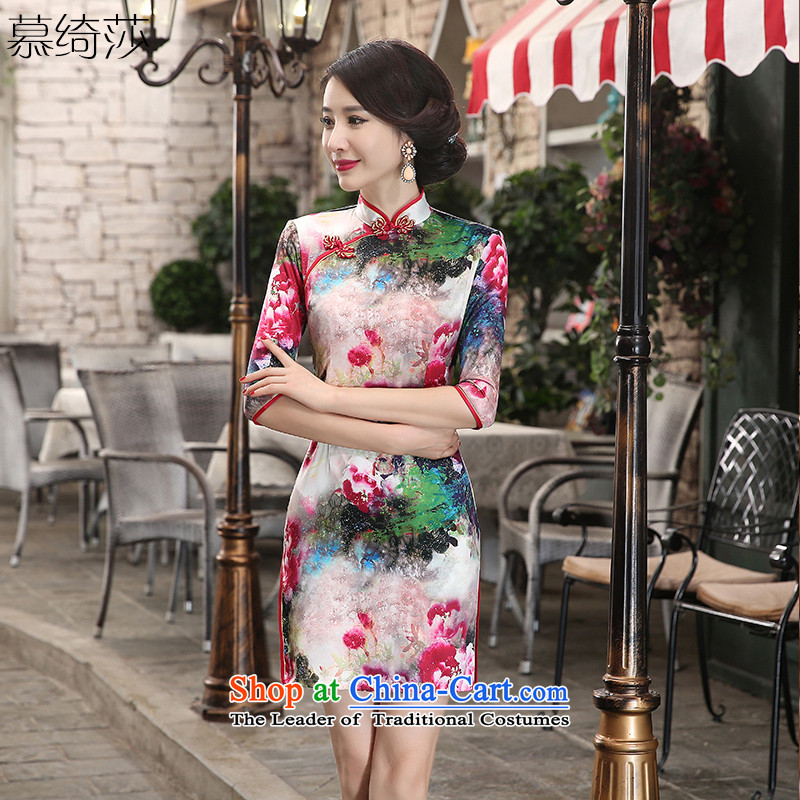 The cross-Sha Chau replacing qipao portrait new stylish retro improved cheongsam dress cheongsam dress seven Ms. cuff ZA3S07 double picture color M