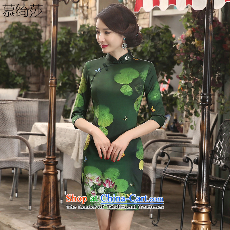 I should be grateful if you would have the cheer her green燿ress autumn 2015 retro cheongsam with improved cheongsam dress female daily cheongsam look elegant燴A3S08燗rmy green燣