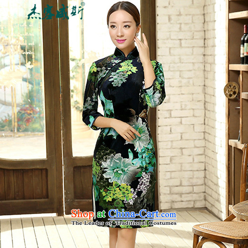In the spring and autumn kit for women elegant beauty really scouring pads in the collar short-sleeved manually detained cheongsam dress female figure聽L