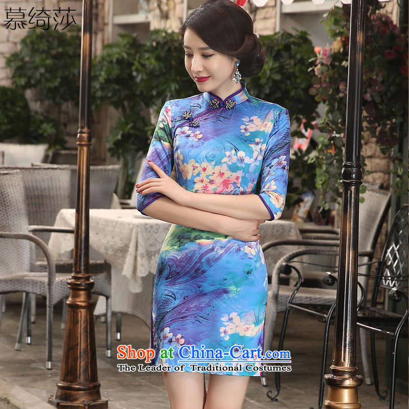 The cross-sa Maehyang-retro cheongsam with improved qipao autumn dresses, short of daily improvement of qipao cheongsam dress new?ZA3S09?light blue?M