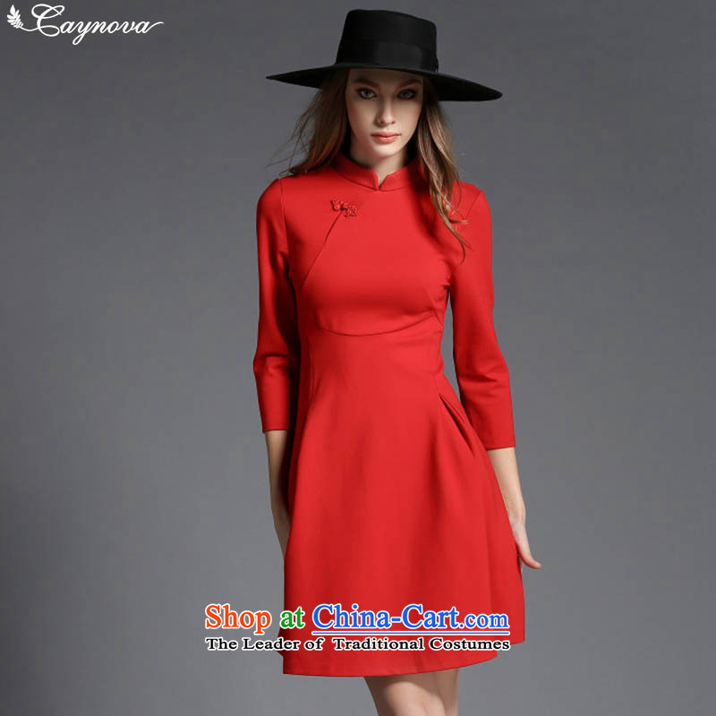 Caynova2015 autumn and winter New China wind retro elegant 7 Cuff Sau San video thin cheongsam dress red燲L