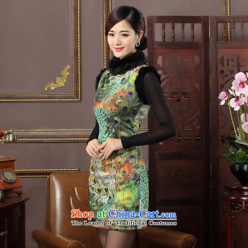 Oriental aristocratic peacock pattern 2015 new winter folder cotton qipao daily improved gross collar cheongsam dress�4642 green燣