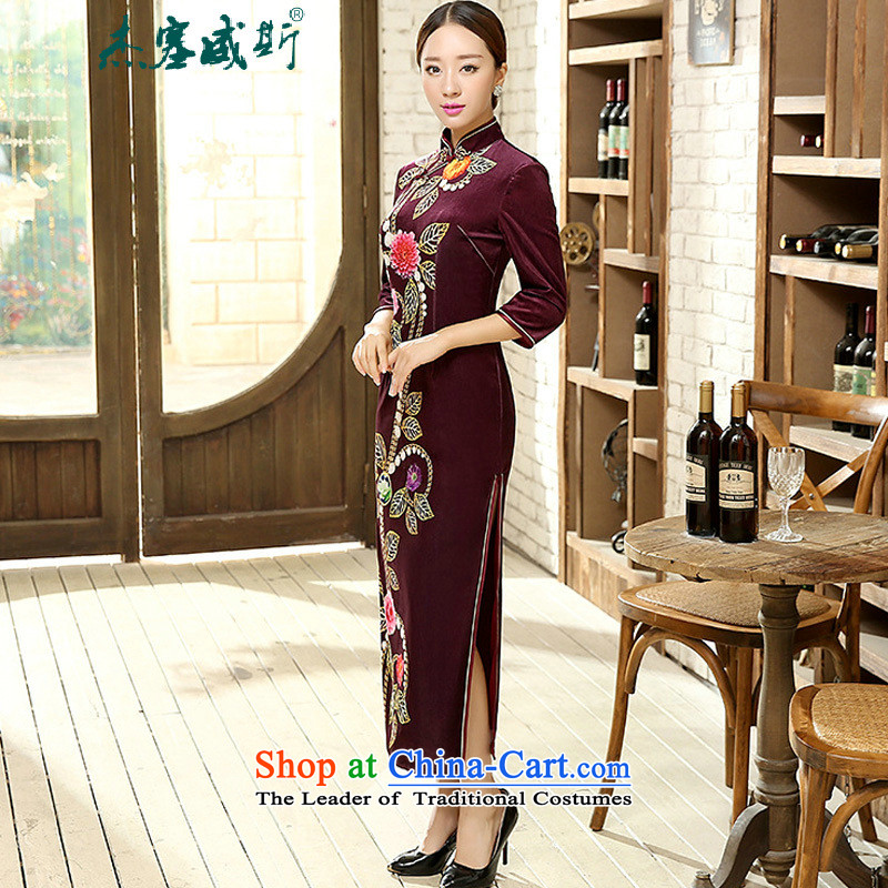 In the spring and autumn jie female Tang dynasty qipao positioning poster Stretch Wool collar manually gold disc allotted seven points cuff cheongsam dress?XXXL Figure