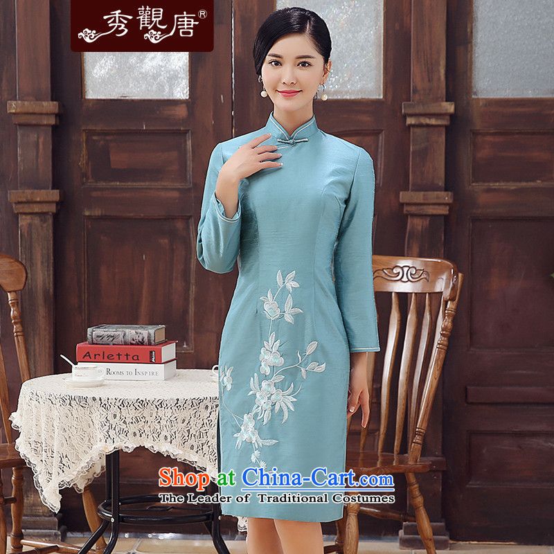 -Sau Kwun Tong- Blue Hong Kong 2015 winter clothing new long-sleeved folder cotton embroidery improved stylish Sau San video thin blue skirt qipao聽M