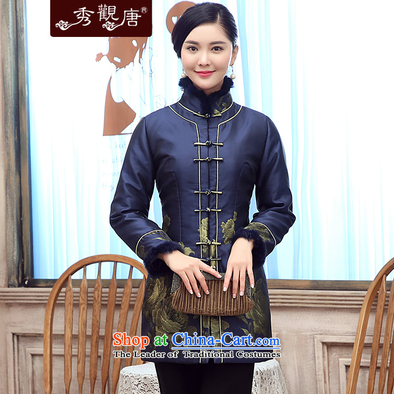 -Sau Kwun Tong- JIN Lan 2015 winter clothing new gross lapel unit in older President Tang jackets mother coat blue聽L