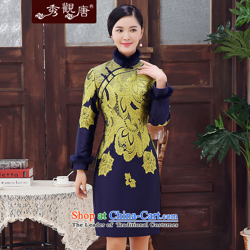 -Sau Kwun Tong- first envelope of 2015 winter clothing new stylish stamp rabbit hair clip cotton retro improved long-sleeved cheongsam dress suit燣
