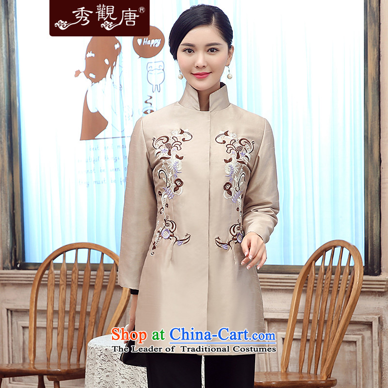 [Sau Kwun Tong] a fragrant 2015 winter clothing new embroidery folder unit in older President Tang Jacket coat m White�M Mom