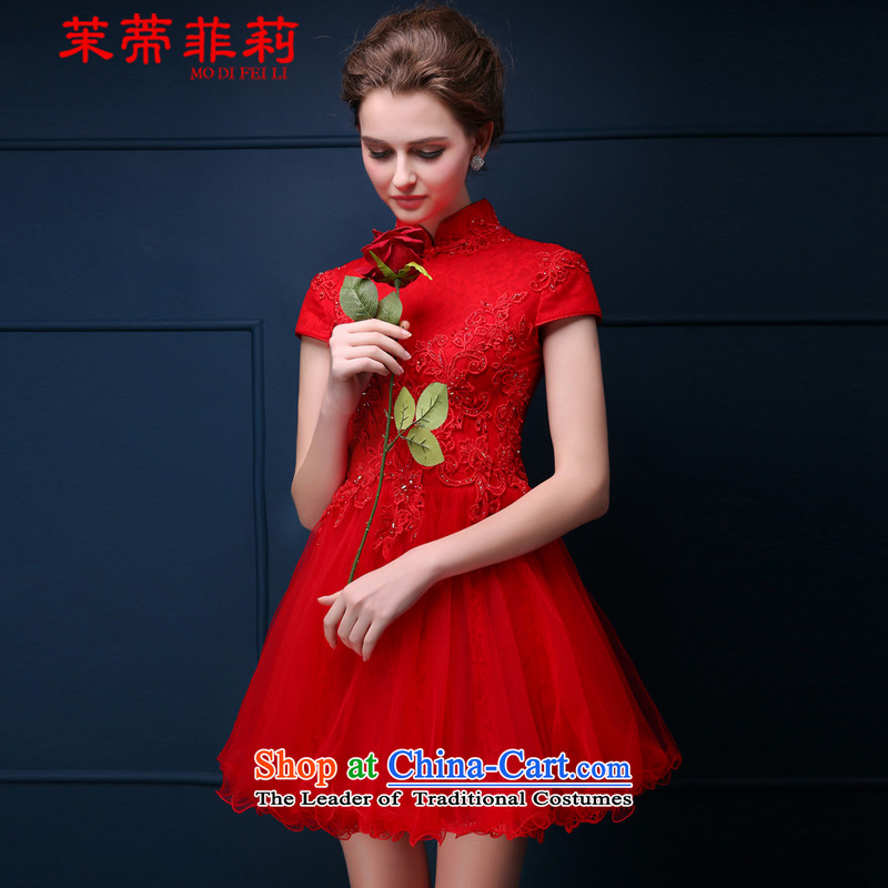 Energy Tifi Li bridal dresses qipao bride bows services 2015 winter new lace short_ Bride wedding dress cheongsam red燬