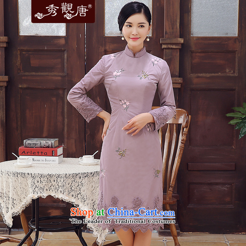 -Sau Kwun Tong- Winter 2015 Requested For Winter New Stylish retro folder embroidery improved cotton elegant qipao video thin long-sleeved light purple燲XL
