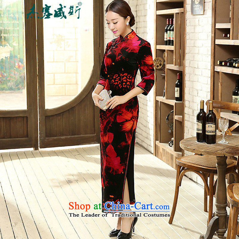 In the spring and autumn jie female qipao Tang Dynasty Stretch Wool elegant classic golden collar manually detained seven long-sleeved cheongsam dress and燽lack and red燲XXL T0007 female