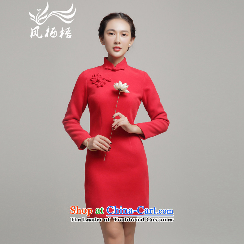 Bong-migratory 7475 gross??2015 autumn and winter qipao new long-sleeved qipao retro daily cheongsam dress DQ15259 RED?XXL