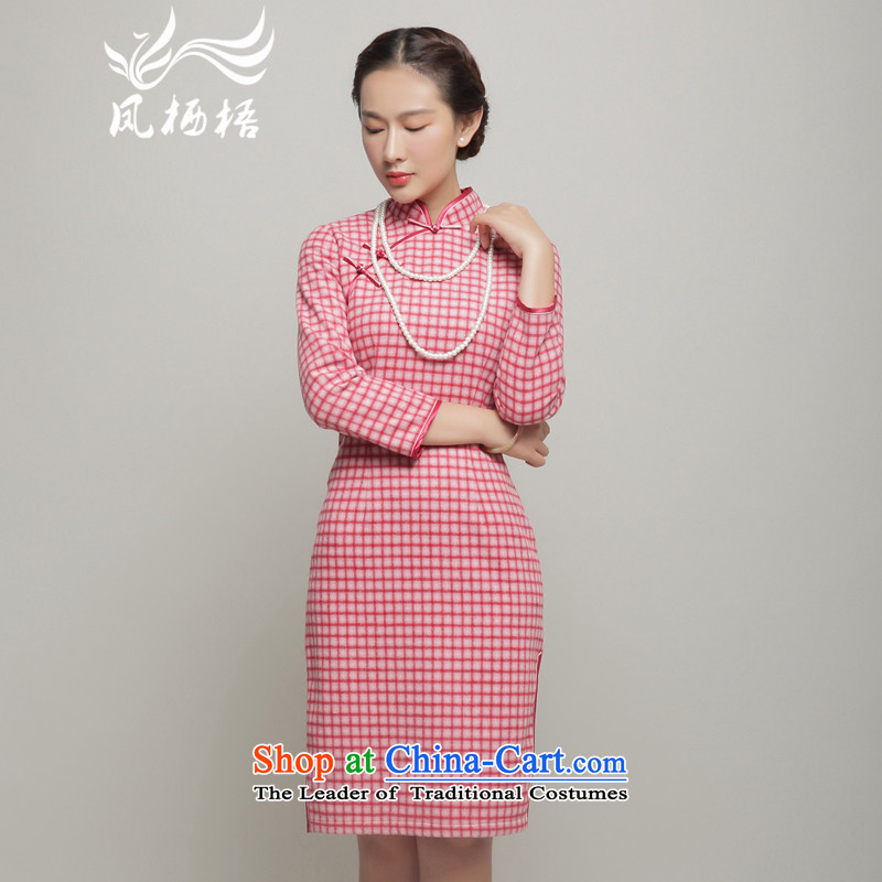 Bong-dwelling for autumn and winter 7475�15 new long-sleeved qipao latticed qipao retro qipao? gross dresses DQ15260 pink燲XL