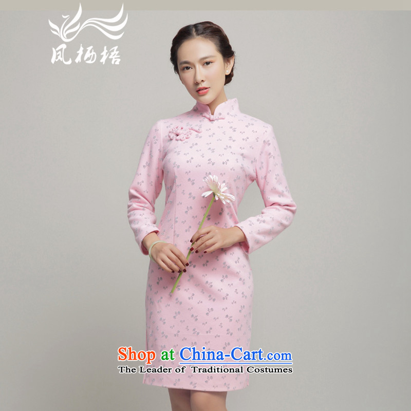 Bong-dwelling for autumn and winter 7475?2015 autumn and winter gross qipao? long-sleeved qipao gown skirts daily qipao retro DQ15261 pink?S