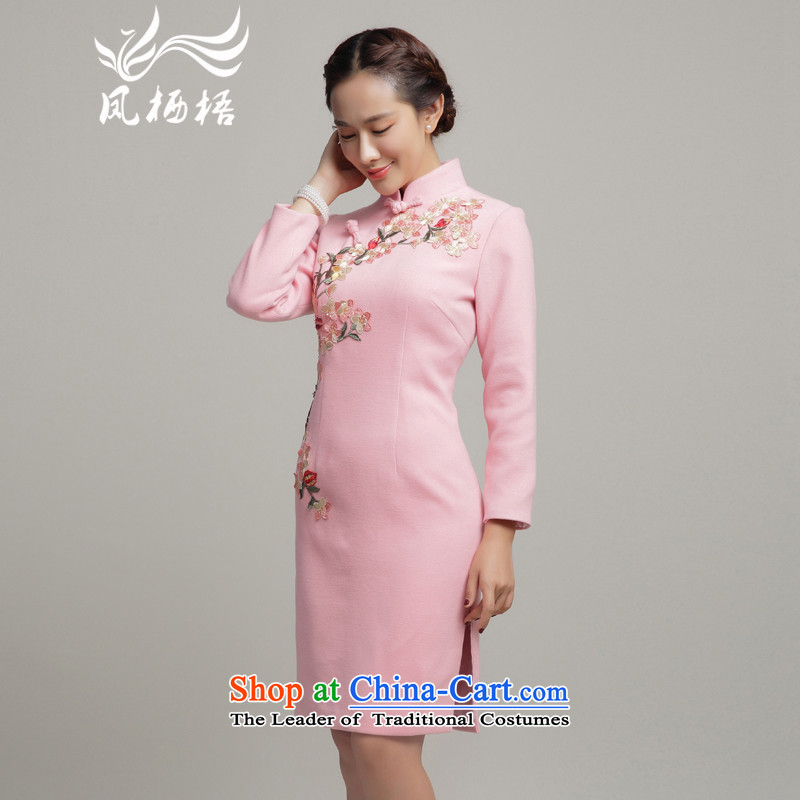 Bong-migratory 7475 gross cheongsam dress? 2015 new winter long-sleeved improved stylish cheongsam dress DQ15263 Embroidered pink燬