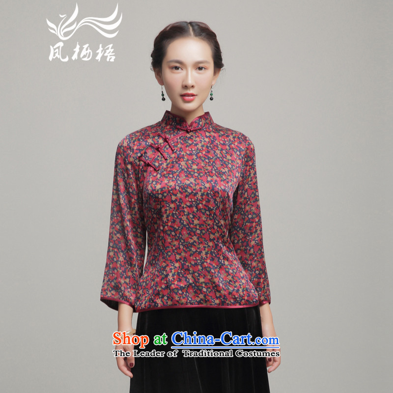 Bong-migratory 7475 Silk Cheongsam shirt?2015 autumn and winter herbs extract new long-sleeved blouses DQ15264 Tang suit?S